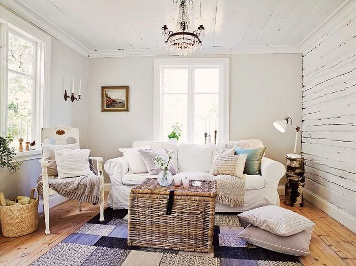 Интерьер гостиной небольшого дома в скандинавском стиле