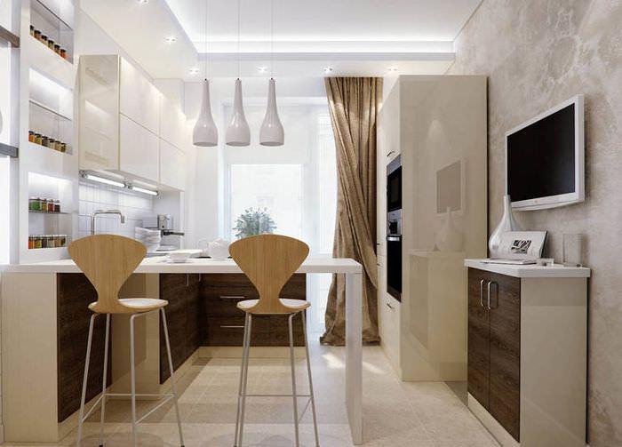 Дизайн кухни с барной стойкой в современном стиле