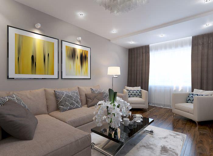 Модульные картины на стене гостиной в современном стиле