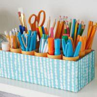 Органайзер для карандашей из обувной коробки