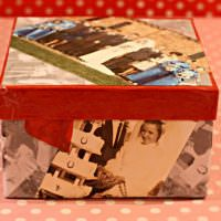 Декор коробки из под обуви семейными фотографиями