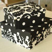 Отделка картонных коробок тканью в горошек