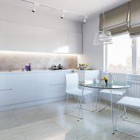 Римские шторы на кухне в стиле хай-тек