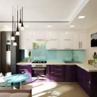 Фиолетовые фасады кухонных тумб