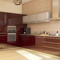 Угловая кухня с коричневыми фасадами