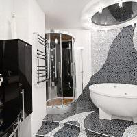 Душевая кабина в углу ванной комнаты