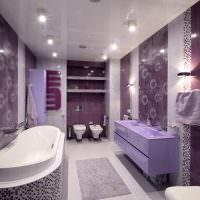 Интерьер ванной в сиреневых тонах