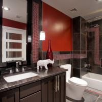 Красный цвет в дизайне ванной