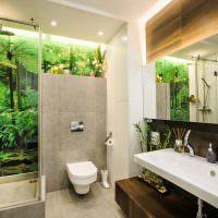 Душевая кабина в ванной эко стиля