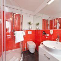 Дизайн ванной в красно-белом цвете