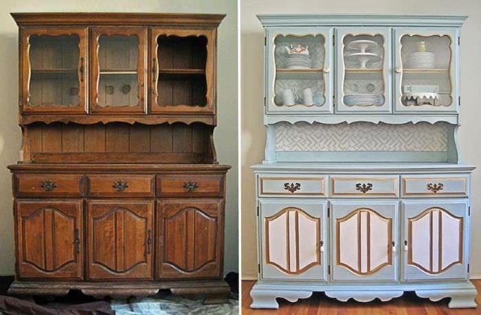 Деревянный шкаф до и после покраски своими руками