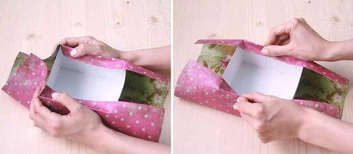 Обвертывание коробки из-под обуви подарочной бумагой