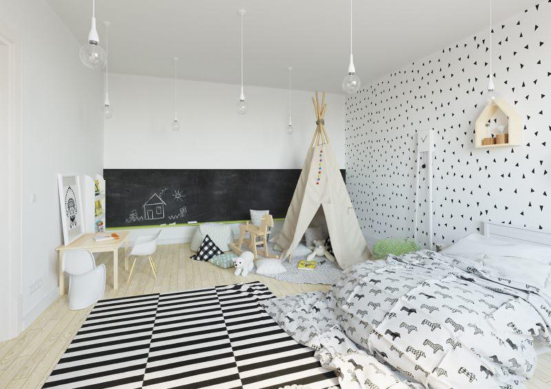 Интерьер детской комнаты в загородном доме скандинавского стиля