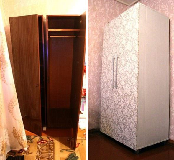 Декор старого шкафа обоями в тон стен