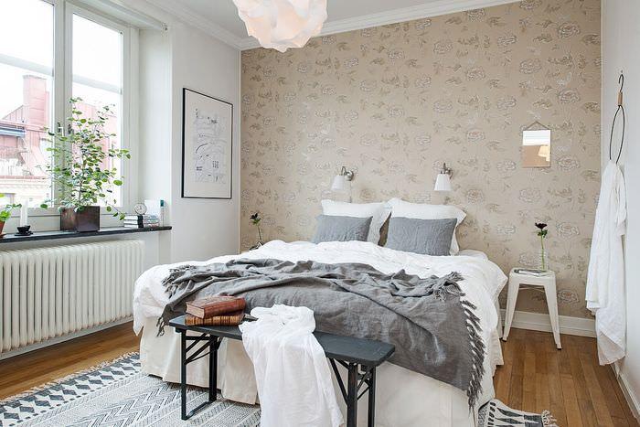 Интерьер небольшой спальни в скандинавском стиле