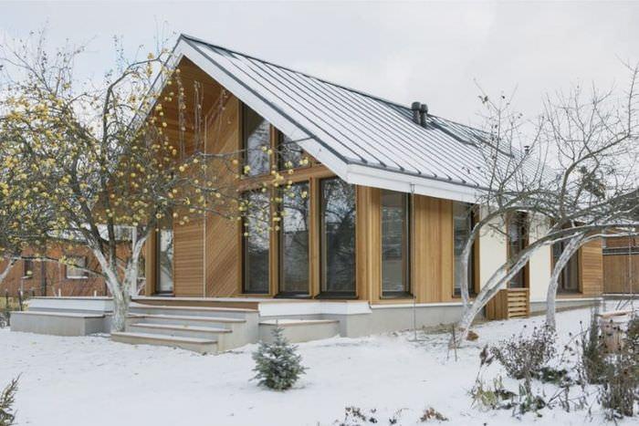 Каркасный дом с панорамными окнами в скандинавском стиле