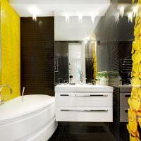 Желтый цвет в интерьере ванной