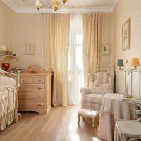 Детская комната для девочки в бежевом цвете