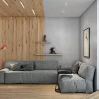 Отделка стены гостиной деревянными рейками