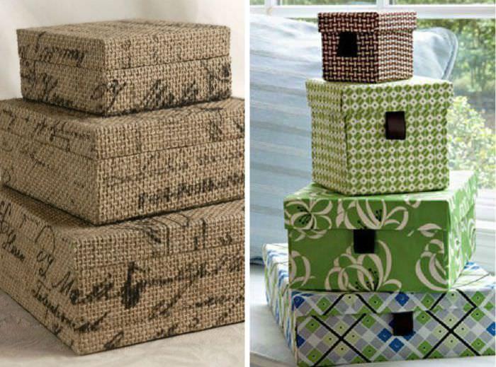 Декорирование коробок мешковиной и бумагой