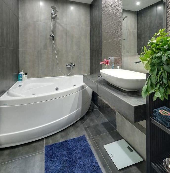 Интерьер современной ванной в сером цвете