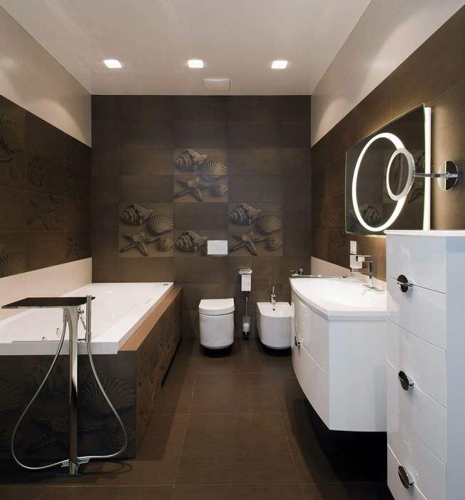 Дизайн современной ванной в коричневых тонах