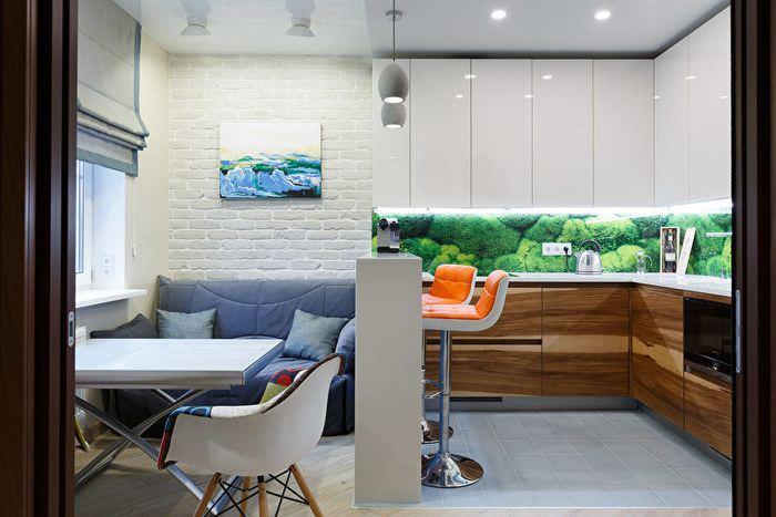 Разделение кухни-гостиной на зоны с помощью барной стойки