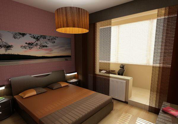 Дизайн спальни с балконом в теплых коричневых оттенках