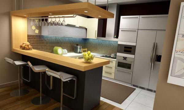 барная стойка для кухни с крючками