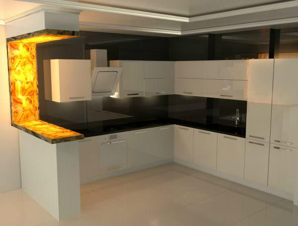 барная стойка для кухни с подсветкой