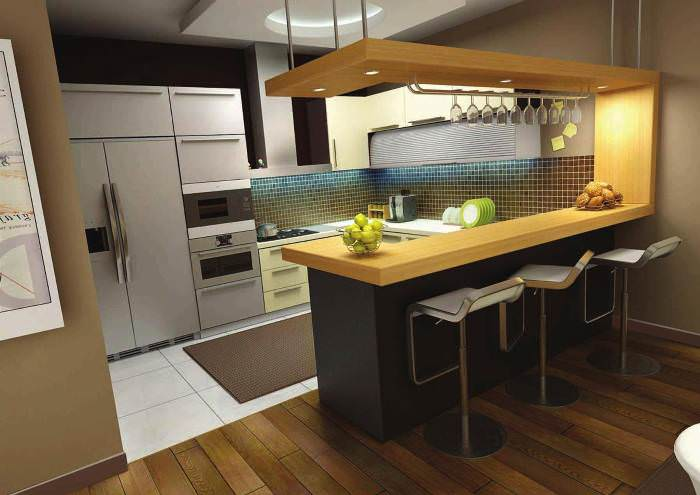 Барный стол на кухне.