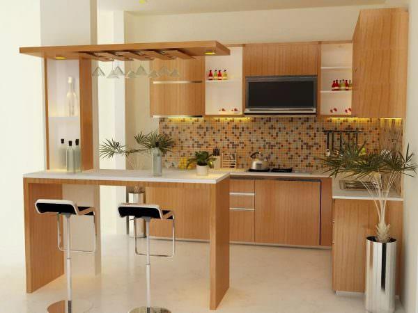 Барную стойку можно установить на кухне