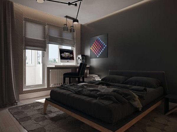 Спальня, совмещенная с лоджией в темных оттенках