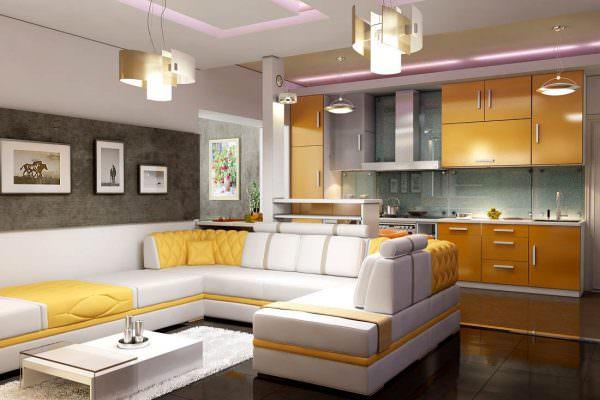 кожаный угловой диван в кухонном интерьере
