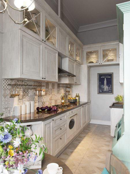 Кухня в стиле прованс с МДФ столешницей