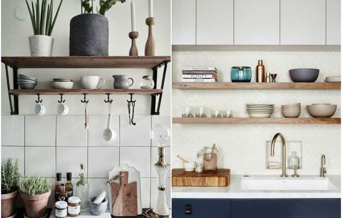 Дизайн открытых полок на кухне.