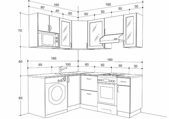 кухонный мебель размеры.