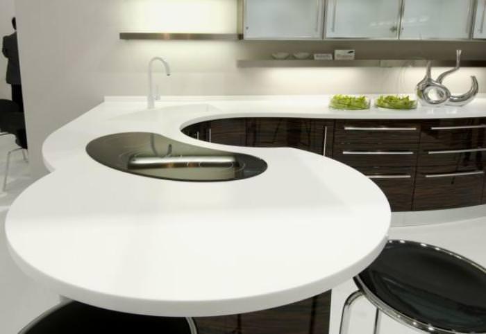 Угловая столешница на кухне.