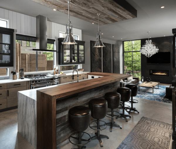 Точечное освещение кухни с барной стойкой