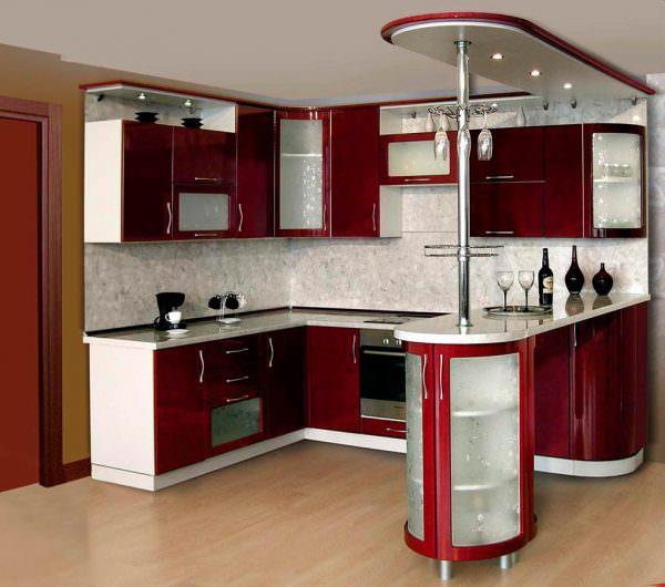 Внешний вид и материал барной стойки лучше подбирать максимально близкий к интерьеру помещения