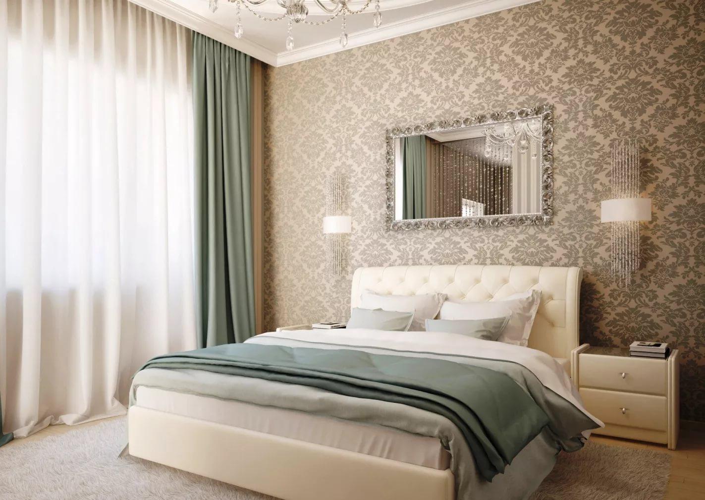 вас подбор обоев для спальни двух цветов фото белая