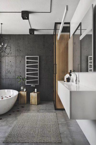 Наиболее актуальный вариант – отделка бетоном. Это практичный вариант, который позволяет придать минималистичного внешнего вида.