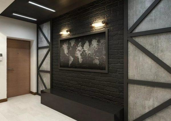 Коридор в стиле Лофт пождходит для квартир с большой площадью