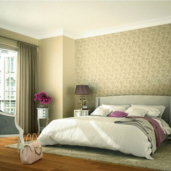 Флизелиновые обои для спальни можно отнести к одному из самых дорогостоящих вариантов дизайна в 2019 году.