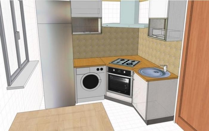 Дизайн интерьера маленькой кухни с холодильником и стиральной машиной