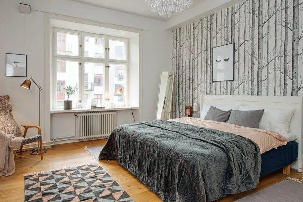 Спальня в скандинавском стиле просто пропитана комфортом и уютом
