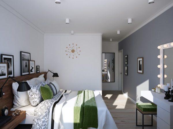 Белую спальню хорошо разбавить яркими ацентами: подушки, элементы декора