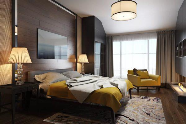 Яркая спальня в желто - коричневых оттенках
