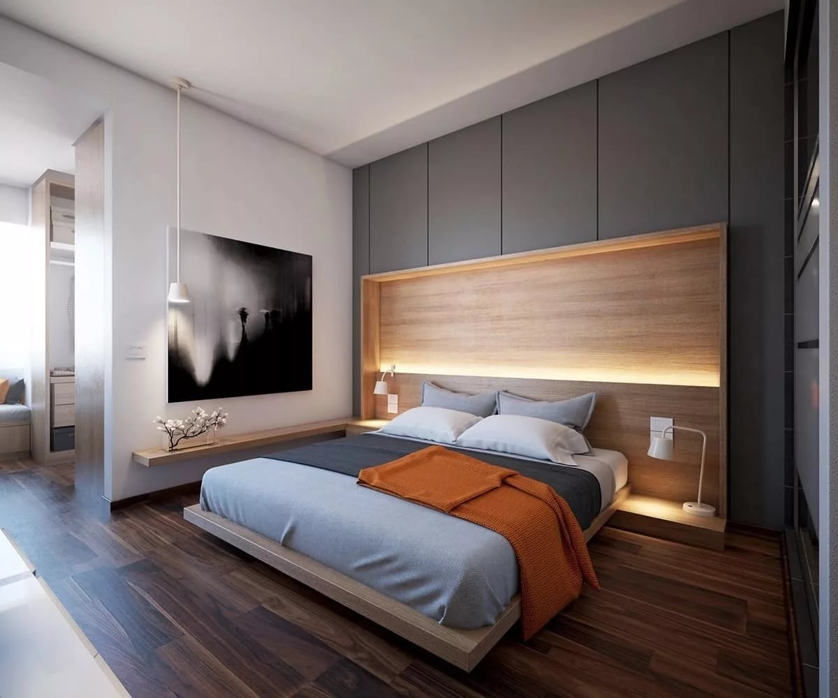 маленькие лучший дизайн спальни в современном стиле фото стоит полушубок меха