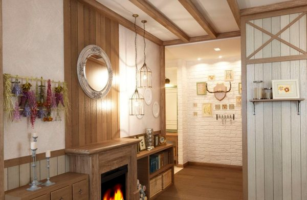 Коридор в стиле Кантри особенно уютный, спокойный и по-домашнему теплый